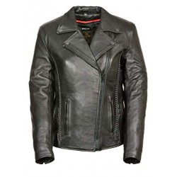 Leather Women's Braided Black Leather Jacket