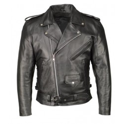 Mens Black Armored Classic Side Lace Biker Jacket