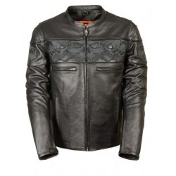 Men's Black Leather Scooter Jacket with Reflective Skulls