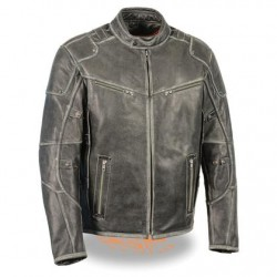 Men's Leather Vintage Distressed Grey Triple Vented Jacket with Side Stretch