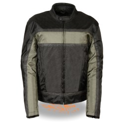 Men's Black and Grey Textile Racer Jacket w Reflective Stripes