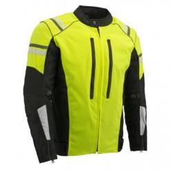 Mens High Visibility Green Waterproof Moto Jacket