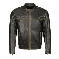 Mens Distressed Black Leather Moto Jacket with Snap Collar