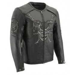 Mens Black Armored Racing Jacket with Reflective Skull Design