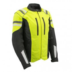Ladies High Visibility Green Waterproof Moto Jacket with Armor