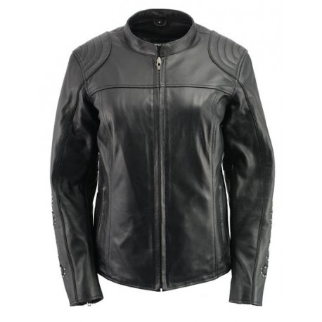 Ladies Black Leather with Full Armor and Wing Embroidery