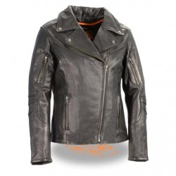 Women's Black Leather Lightweight  Vented Biker Jacket