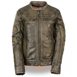 Women's Distressed Brown Vented Leather Scooter Jacket