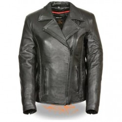 Women's Black Leather Jacket with Braid and Stud Back Detailing