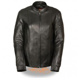 Women's Racer Black Leather Jacket with Side Buckles