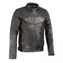 Men's Black Leather Stand Up Collar Leather Jacket