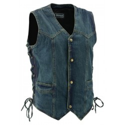 Mens Blue Denim Snap Front Side Lace Vest