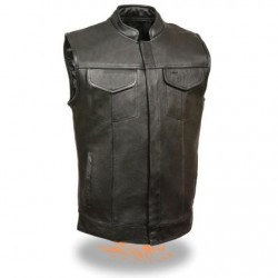 Men's Open Neck Club Leather Vest with Hidden Snaps