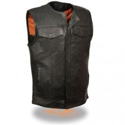 Men's Collarless Snap/Zip Front Club Black Leather Vest