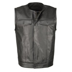Mens Black Leather Collarless Club Style Vest