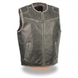 Men's Vintage Distressed Grey Leather Vest