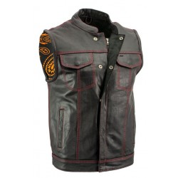 Men's Black Leather Motorcycle Vest with Red Stitching