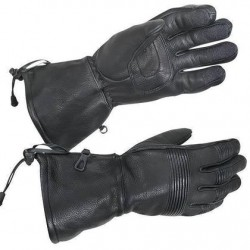 Men's Black Leather Padded Motorcycle Gloves