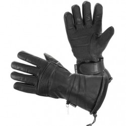 Women's Black Leather Gauntlet Style Waterproof Motorcycle Gloves