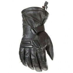 Mens Black Leather Motorcycle Gloves
