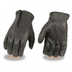 Men's Unlined Leather Gloves with Zipper Closure