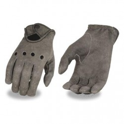 Men's Distressed Grey Leather Driving Gloves