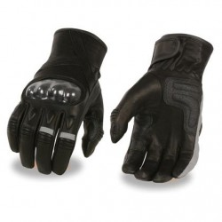 Men's Leather Racer Glove with Hard Knuckles & Elasticized Fingers