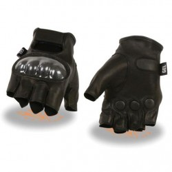 Men's Leather Fingerless Glove with Hard Knuckles