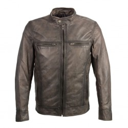 Mens stand up snap collar racer jacket