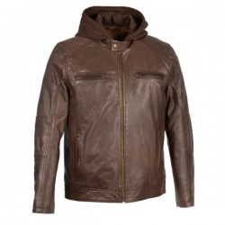 Men's Snap Collar Leather Moto Jacket w/ Removable Hood