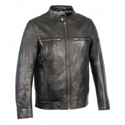 Men's Classic Moto Leather Jacket w/ Zipper Front