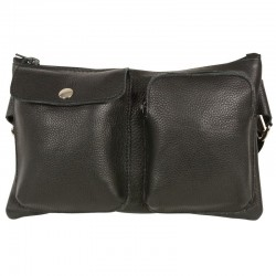 Unisex Black Leather Belt Bag