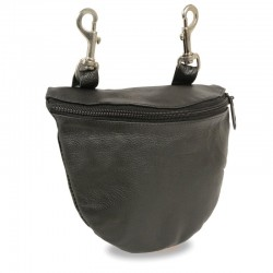 Leather Zipper Close Belt Bag w/ Belt Clasps (8.5X5.5)