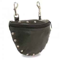 Leather Studded Zipper Close Belt Bag w/ Belt Clasps (8.5X5.5)