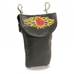 Leather Belt Bag w/ Rose & Flames & Double Clasps (7.5X6)