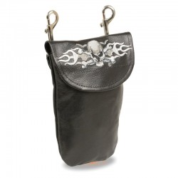 Leather Belt Bag w/ Skull & Flames & Double Clasps (7.5X6)