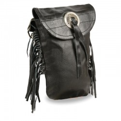 Leather Belt Bag w/ Fringe & Double Clasps
