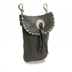 Leather Belt Bag w/ Studding & Double Clasps (7.5X6)