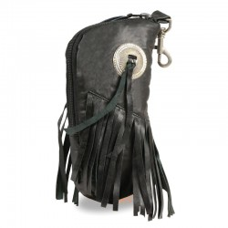 Leather Zippered Eye Glass Case w/ Fringe & Belt Clasp (7.5X6)