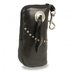 Leather Zippered Eye Glass Case w/ Studs & Belt Clasp (7.5X6)