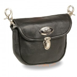 Leather Belt Bag w/ Flap & Belt Clasps(8.5X5.5)