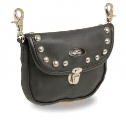 Leather Belt Bag w/ Studded Flap & Belt Clasps(8.5X5.5)