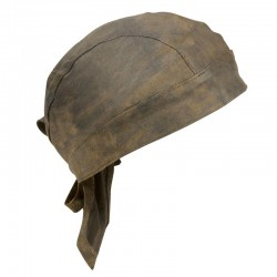 Distressed Brown Leather Skull Cap