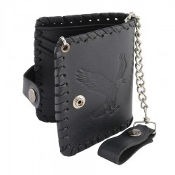 Men's Black Flying Eagle Braided Biker Wallet