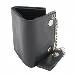 Men's Whip Stitch Biker Wallet w/ Steel Chain