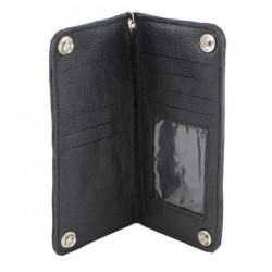 Men's Bi-Fold Long Wallet w/ Steel Chain