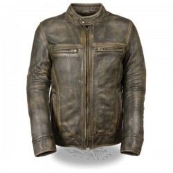 Men's Brown Distressed Scooter Jacket w/ Venting