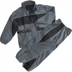Men's Black & Gray Rain Suit Water Resistant w/ Reflective Piping