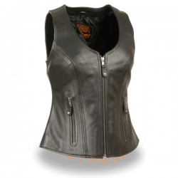 Women's Open Neck Zipper Front Leather Vest