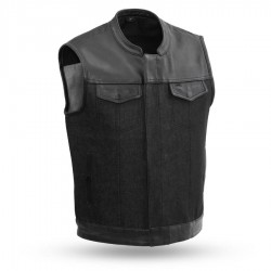 Men's Denim & Leather Combo Vest